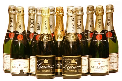 Lot 30-Assorted non-vintage Champagne: Moet & Chandon, ten bottles, Lanson, three bottles