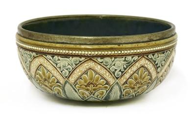 Lot 12-A Doulton Lambeth stoneware bowl
