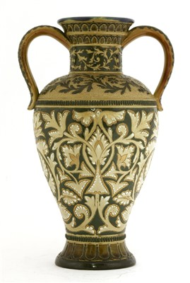 Lot 17-A Doulton Lambeth stoneware twin-handled vase