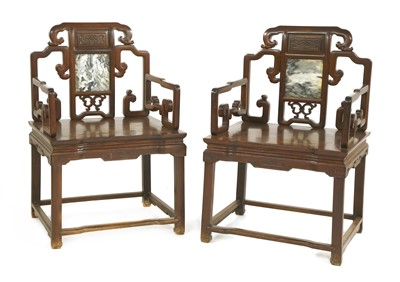 Lot 320-A pair of Chinese armchairs