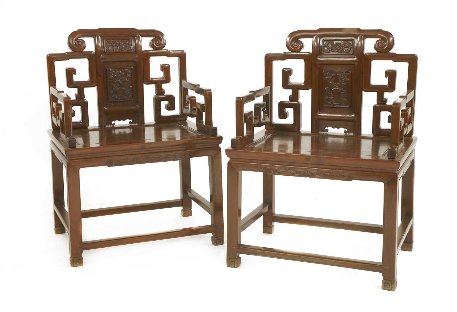 Lot 322-A pair of Chinese armchairs