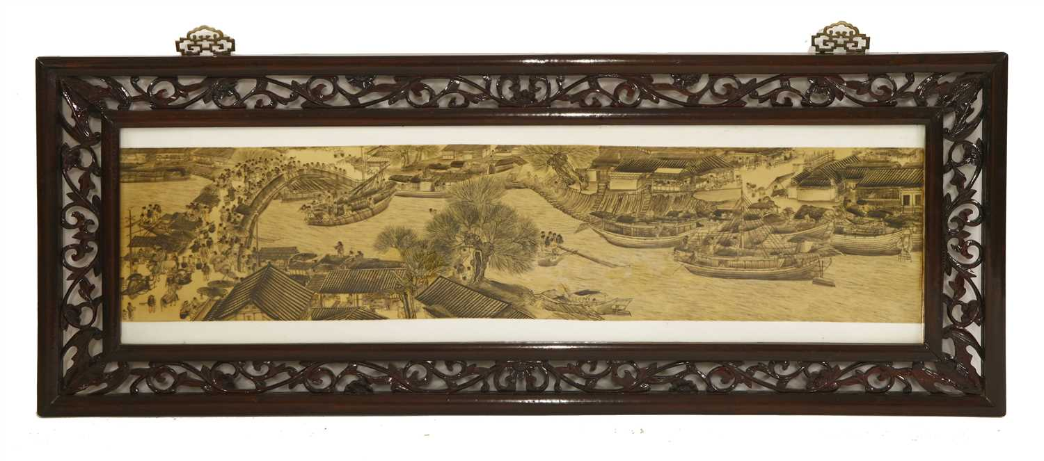 A set of four Chinese porcelain panels,