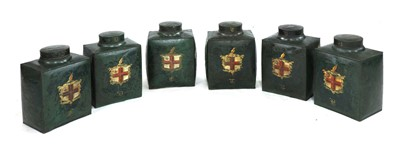 Lot 10-A SET OF SIX BOMBÉ-SHAPED TOLEWARE TEA CANISTERS