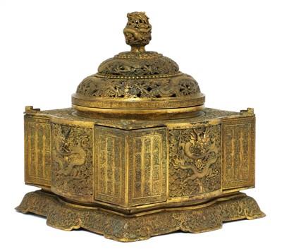 Lot 349 - A Chinese bronze box