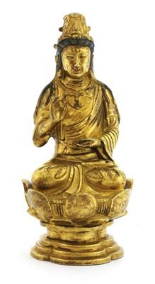Lot 347 - A Chinese gilt bronze Guanyin