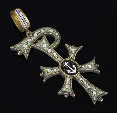 Lot 33-A Victorian gold micromosaic chi-rho pendant, c.1860