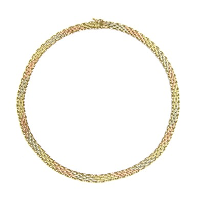 Lot 26-A three colour 9ct gold brick link necklace