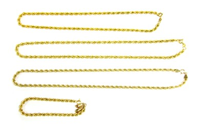 Lot 2-Three 9ct gold hollow rope necklaces
