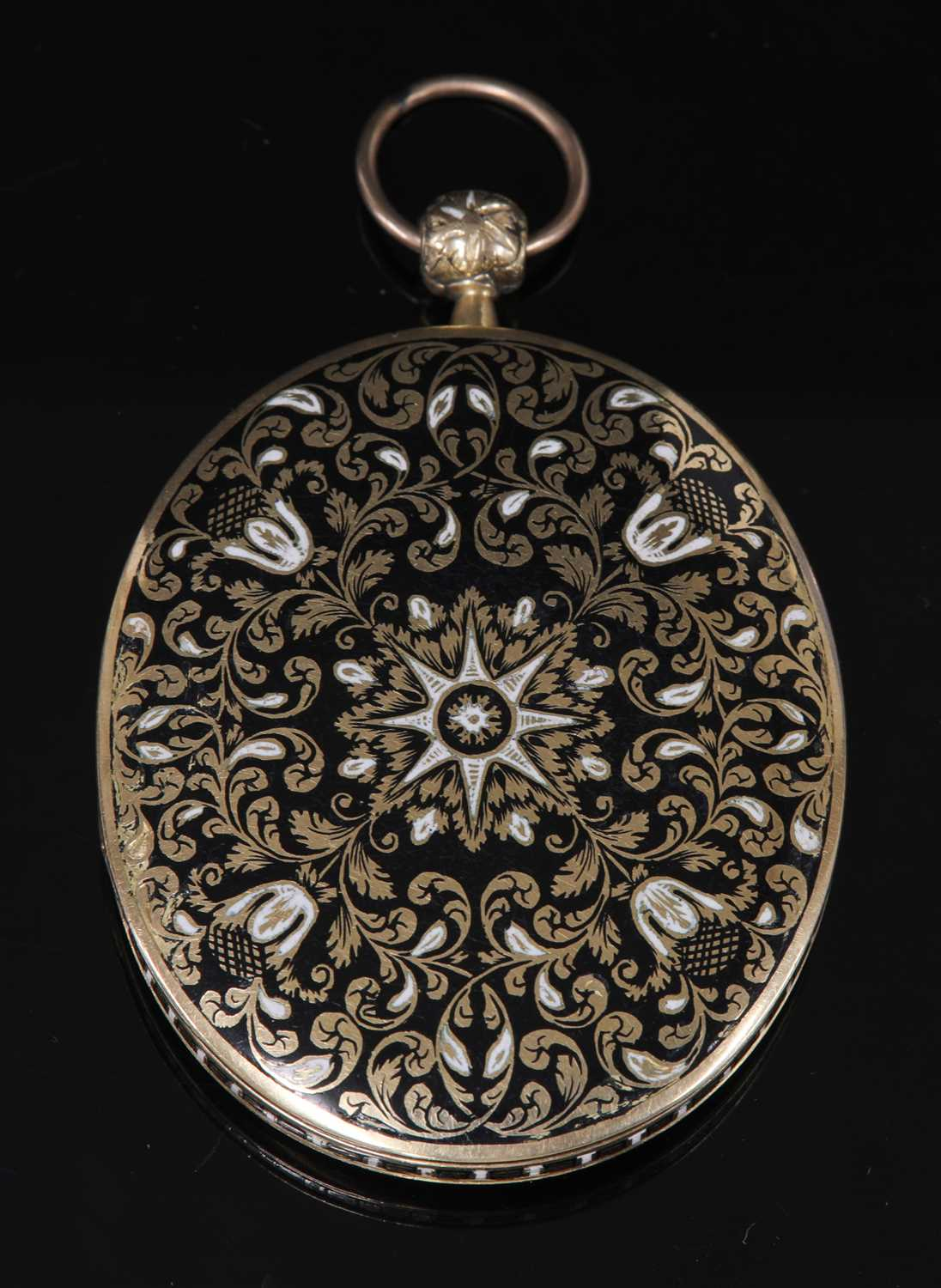 Lot 14-A gold Swiss enamel locket