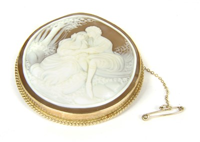 Lot 45-A 9ct gold mounted shell cameo brooch