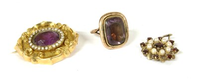 Lot 34-A gold amethyst and split pearl brooch