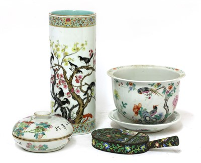 Lot 343 - A Chinese famille rose jardinière and stand