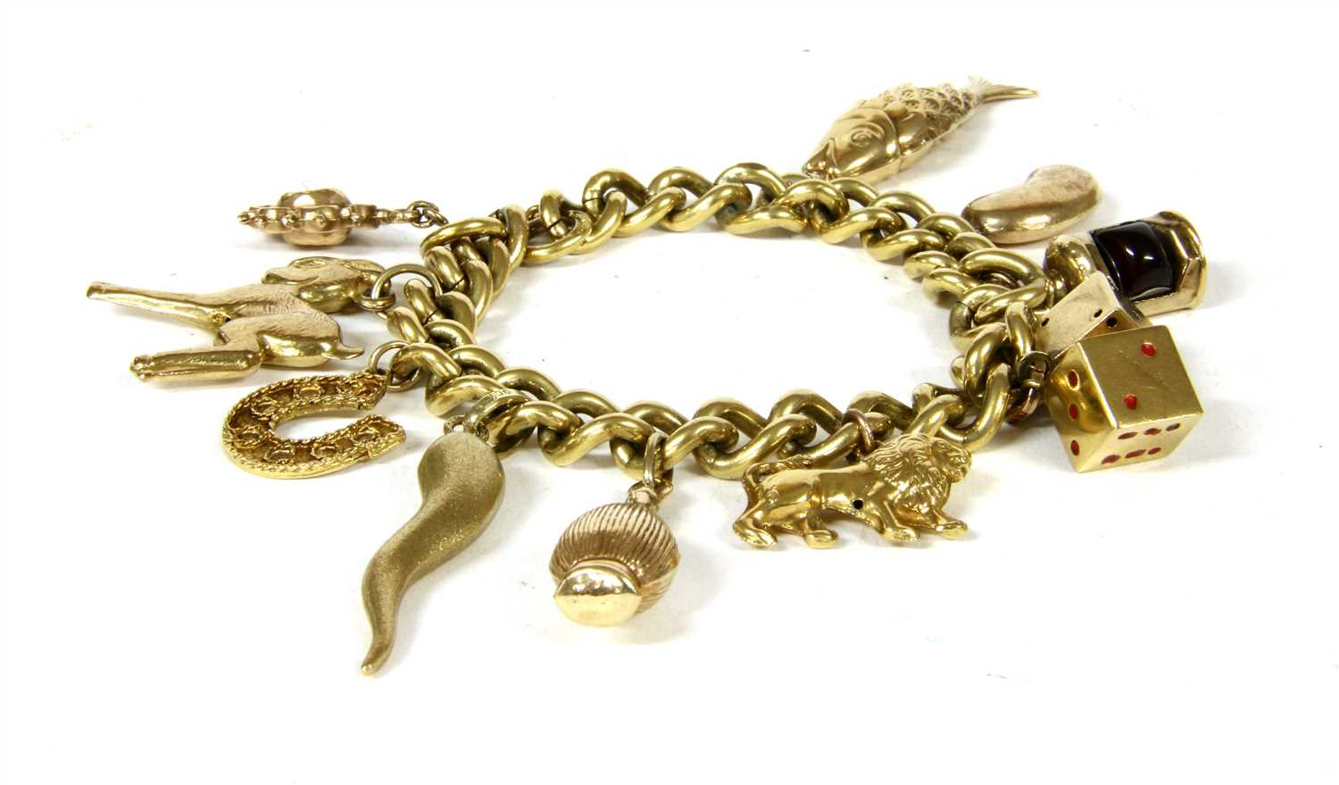 Lot 15-A rolled gold curb chain bracelet