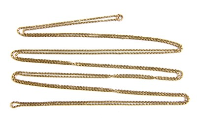 Lot 19-A gold box link long chain