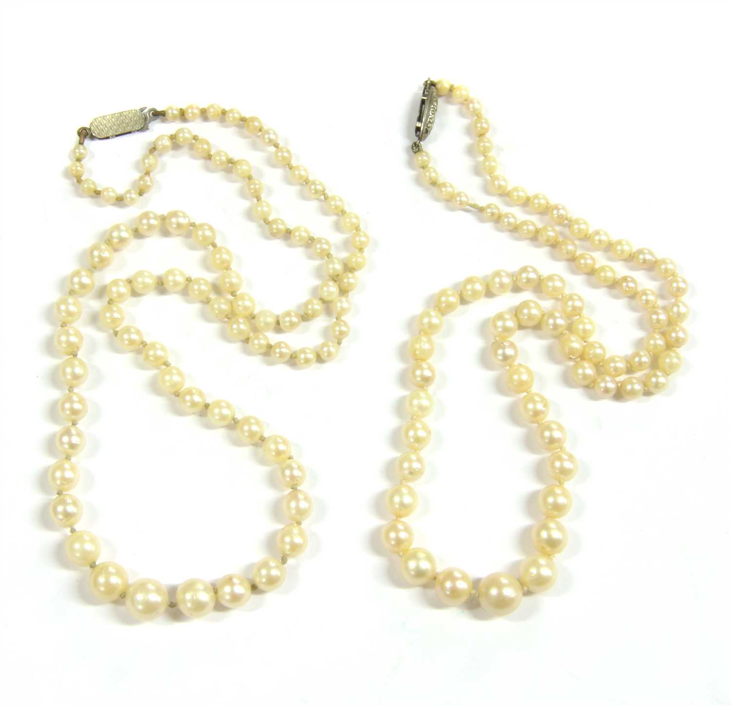 Lot 23-Two graduated cultured pearl necklaces
