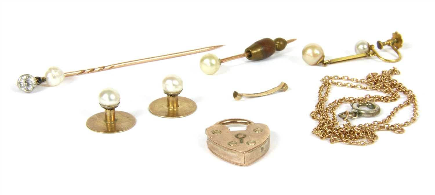 Lot 3-A zircon and pearl stick pin