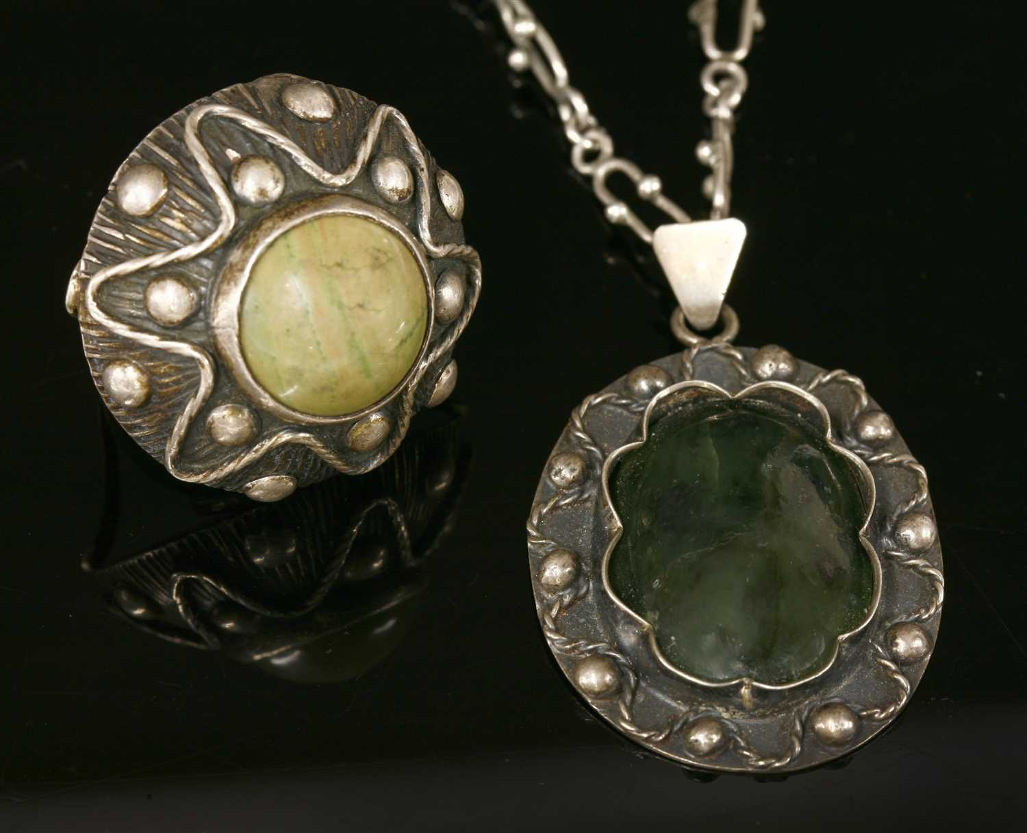 Lot 42 - A Polish silver 800 standard hardstone pendant and ring matched suite, c.1960