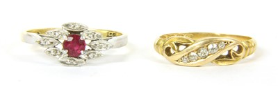 Lot 41-An 18ct gold five stone diamond ring