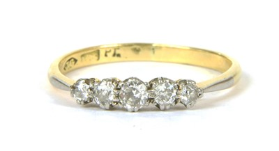 Lot 33-A gold five stone diamond ring