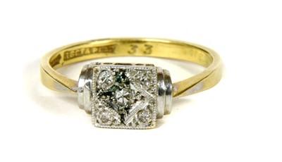 Lot 19-An Art Deco five stone diamond ring