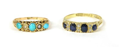 Lot 21-An Edwardian 18ct gold sapphire and diamond carved head ring
