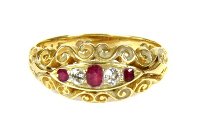 Lot 20-A Victorian 18ct gold ruby and diamond five stone boat shaped ring