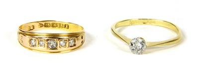 Lot 17-A gold five stone diamond ring