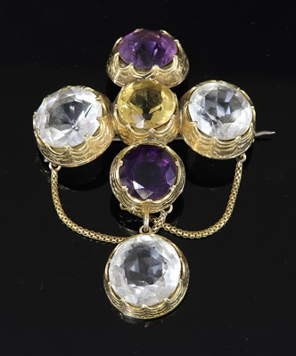 Lot 42-A Victorian gold citrine, amethyst and rock crystal cruciform and swag brooch/pendant