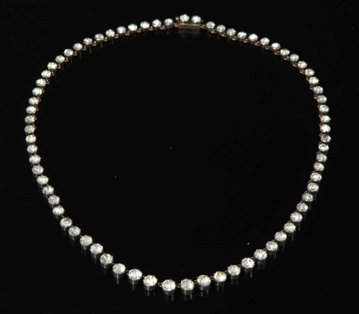 Lot 15 - A Victorian graduated paste set rivière necklace
