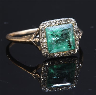 Lot 21-A Georgian foiled emerald and diamond square cluster ring