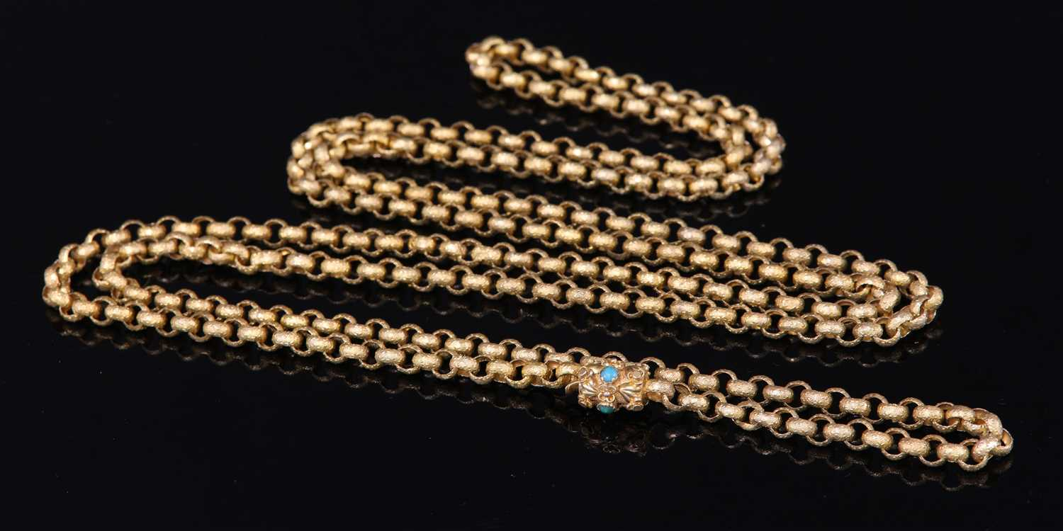 Lot 1-A late Georgian or Regency gold long chain