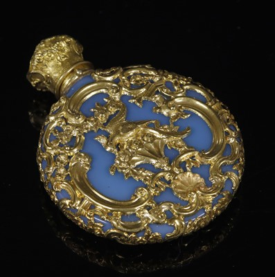 Lot 18-A Victorian Rococo Revival blue glass, gold mounted scent bottle