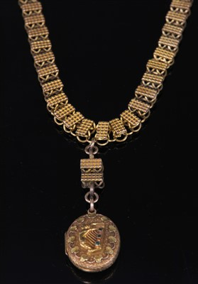 Lot 35-A late Victorian gold two row necklace