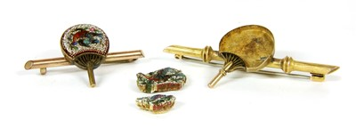 Lot 6-Two micro mosaic fan brooches