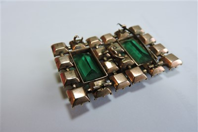 Lot 26-A Georgian rectangular form gold and green paste set buckle/clasp or double brooch, c.1820