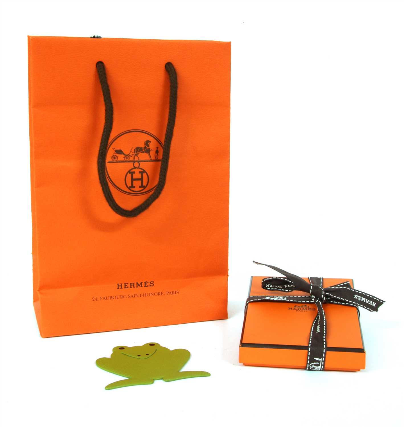 Lot 223 - A Hermes Pikabook green leather frog