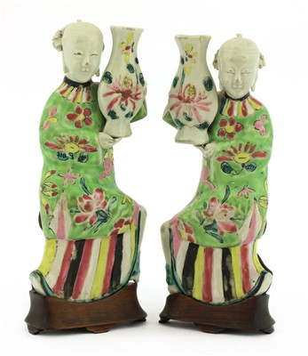 Lot 15-A pair of Chinese famille rose wall vases