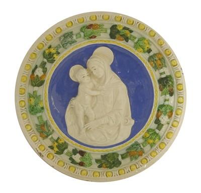 Lot 8-A Della Robbia pottery Madonna and Child tondo