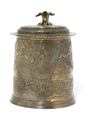 Lot 3-A William and Mary silver tankard