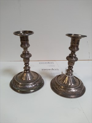 Lot 7-A pair of silver tapersticks
