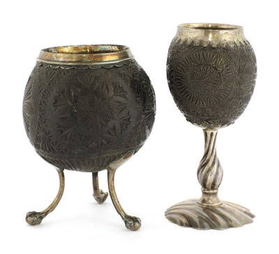 Lot 8-A silver-mounted coconut cup
