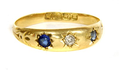 Lot 8-A Victorian 18ct gold diamond, sapphire and doublet ring