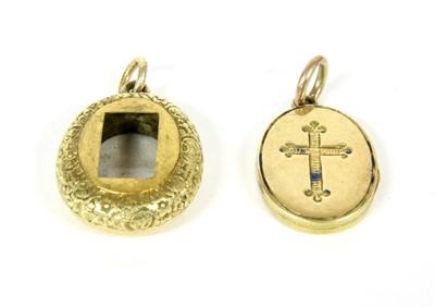 Lot 15-A gold enamel oval locket