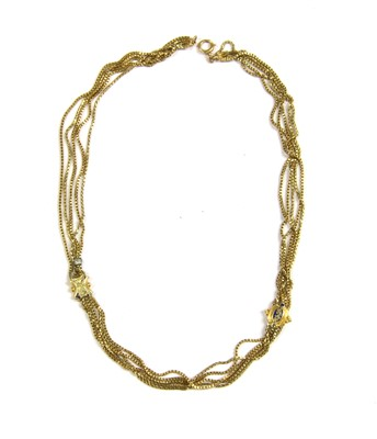 Lot 17-A five strand box link chain necklace