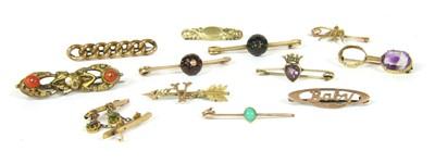Lot 2-Ten gold bar brooches