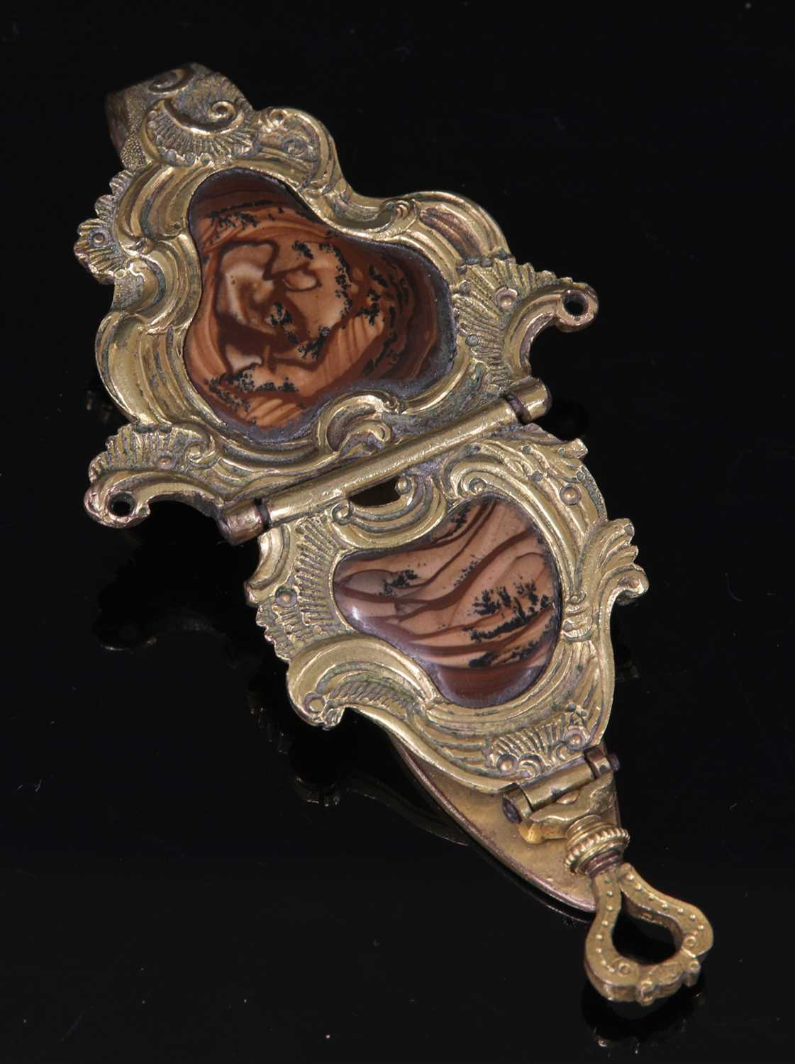 Lot 2-A George II gilt metal and agate rococo chatelaine hook, c.1740
