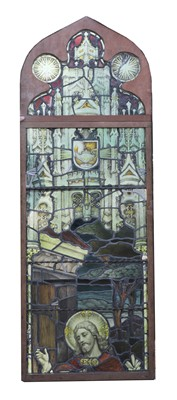 Lot 13-A large stained and leaded glass window