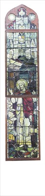 Lot 13 - A large stained and leaded glass window