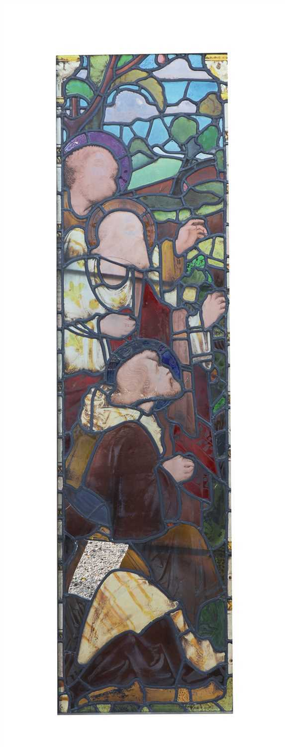 Lot 14-A stained and leaded glass window