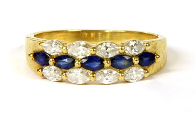 Lot 18-An 18ct gold sapphire and diamond ring